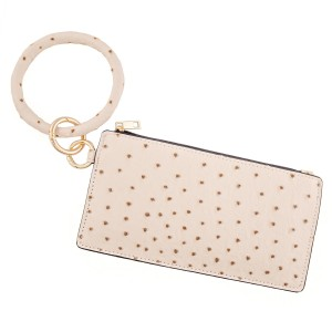 """Ostrich faux leather keyring wallet wristlet.  - Open lined inside - No pockets - Zipper closure - Detachable - Ring 4"""" in diameter - Wallet approximately 8"""" L x 4"""" T - 100% PU"""