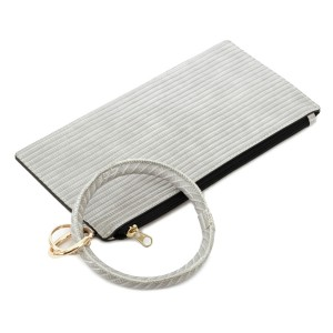 """Faux Leather Key Ring Wallet Wristlet.  - Zipper Closure - Detachable 3"""" Key Ring - Holds: Bills / Coins / Cards / ID - Approximately 8"""" x 4"""""""