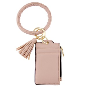 "Faux Leather Tassel Key Ring IC/Card Bangle Keychain Wristlet.  - Zipper Closure - Open Pouch for Coins - 2 Functional Card Pockets - Key Ring 4"" in diameter - Approximately 5"" T x 3"" W"