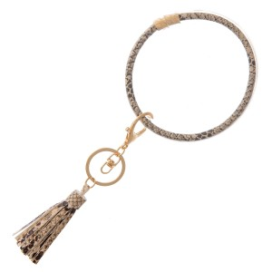 """Snakeskin Filled Tassel Key Ring Bangle Keychain Holder.  - Holds Keys while wearing on wrist or bag - Approximately 4"""" in diameter"""
