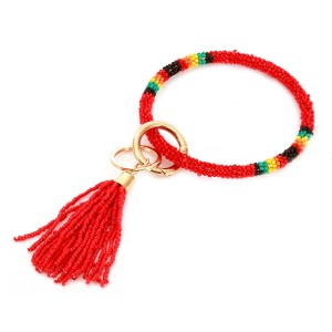 """Seed Beaded Tassel Key Ring.  - Hold Keys while wearing on wrist or bag - Approximately 4"""" in diameter"""