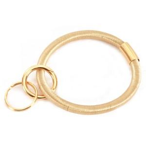 "Ponytail Like Key Ring Bangle Keychain Holder.  - Hold Keys while wearing on wrist or bag - Approximately 3.5"" in diameter"