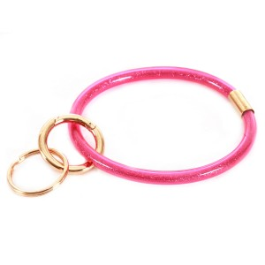 """Glitter Filled Key Ring.  - Hold Keys while wearing on wrist or bag - Approximately 3"""" in diameter"""