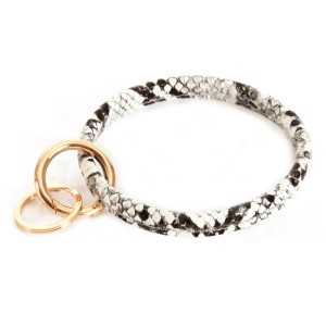 """Faux Leather Snakeskin Key Ring Bangle Keychain Holder.  - Hold Keys while wearing on wrist or bag - Approximately 3"""" in diameter"""
