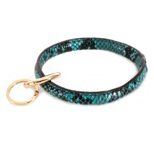 """Faux Leather Snakeskin Key Ring.  - Hold Keys while wearing on wrist or bag - Approximately 3"""" in diameter"""