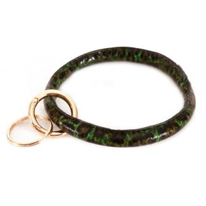 """Faux Leather Leopard Print Key Ring.  - Hold Keys while wearing on wrist or bag - Approximately 4"""" in diameter"""