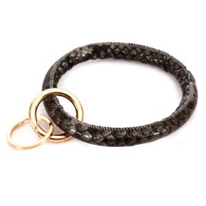 """Faux Leather Snakeskin Key Ring Bangle Keychain Holder.  - Hold Keys while wearing on wrist or bag - Approximately 4"""" in diameter"""