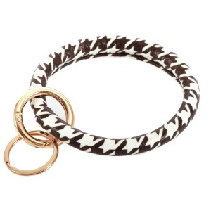 """Faux Leather Houndstooth Key Ring Bangle Keychain Holder.  - Hold Keys while wearing on wrist or bag - Approximately 4"""" in diameter"""
