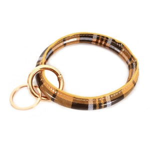 """Faux Leather Plaid Key Ring Bangle Keychain Holder.  - Hold Keys while wearing on wrist or bag - Approximately 4"""" in diameter"""