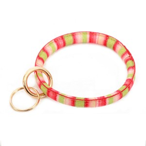 """Faux Leather Glittery Stripe Key Ring Bangle KeyChain Holder.  - Hold Keys while wearing on wrist or bag - Approximately 3.5"""" in diameter"""