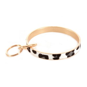 """Leopard Print Faux Fur Metal Key Ring Bangle Keychain Holder.  - Hold Keys while wearing on wrist or bag - Approximately 3"""" in diameter"""