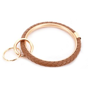 """Braided Faux Leather Key Ring.  - Hold Keys while wearing on wrist or bag - Approximately 3"""" in diameter"""