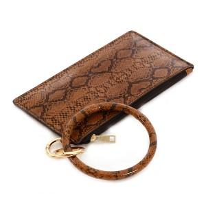"Slim Minimalist Faux Leather Snakeskin Wallet Key Ring.  - Zipper Closure - No Pockets  - Open Inside - Detachable  - Approximately 8"" L x 4"" W - Ring 4"" in diameter - 100% PU"