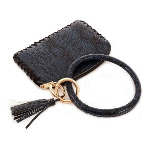 """Faux Leather Snakeskin Key Ring Tassel Coin Pouch Wristlet.  - Zipper Closure - No Pockets - Open Pouch - Approximately 5"""" T x 3.5"""" W - Inner Ring Diameter 4"""""""