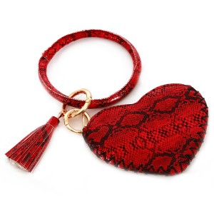"""PU Leather Heart Shaped Snakeskin Coin Pouch Key Ring Bangle Wristlet.  - Zipper Closure - No Pockets - Open Pouch - Approximately 5"""" T x 3.5"""" W - Ring 4"""" in diameter - 100% PU"""