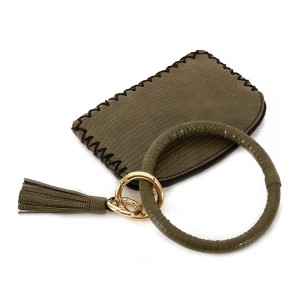 """PU Leather Coin Tassel Pouch Key Ring Bangle Wristlet.  - Zipper Closure - No Pockets - Open Pouch - Approximately 5"""" T x 3.5"""" W - Ring 4"""" in diameter - 100% PU"""