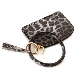 """PU Leather Leopard Print Coin Tassel Key Ring Bangle Wristlet.  - Zipper Closure - No Pockets - Open Pouch - Approximately 5"""" T x 3.5"""" W - Ring 4"""" in diameter - 100% PU"""
