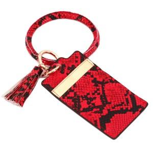 "PU Leather Slim Minimalist Snakeskin Tassel Card Holder Key Ring Bangle Wristlet.  - 4 Functional Card Pockets - KeyRing 4"" in diameter - Approximately 4"" T x 3"" W - 100% PU"