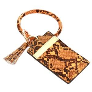 "Slim Minimalist Faux Leather Snakeskin Card Wallet Tassel Key Ring.  - 4 Functional Card Pockets - KeyRing 4"" in diameter - Approximately 4"" T x 3"" W - 100% PU"