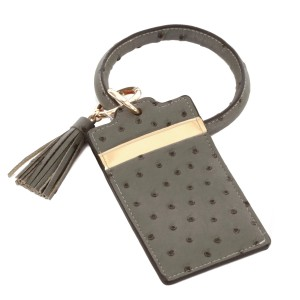 """PU Ostrich Leather Slim Minimalist Card Holder Key Ring Bangle Wristlet.  - 2 functional pockets - Approximately 4"""" T x 3"""" W - Ring 4"""" in diameter - 100% PU"""