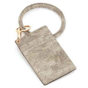 """PU Ostrich Leather Slim Minimalist Card Holder Key Ring Bangle Wristlet.  - 4 functional pockets - Approximately 4"""" T x 3"""" W - Ring 4"""" in diameter - 100% PU"""
