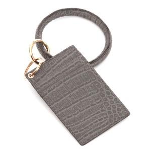 "PU Grey Leather Slim Minimalist Card Holder Key Ring Bangle Wristlet.  - 4 Functional Card Pockets - Key Ring 4"" in diameter - Approximately 4"" T x 3"" W - 100% PU"