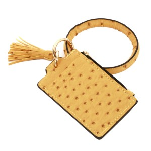 """PU Leather Ostrich Slim Minimalist Tassel Coin Pouch Key Ring Bangle Wristlet.  - Zipper Closure - Coin Pouch - 2 functional pockets - Approximately 4"""" T x 3"""" W - Ring 4"""" in diameter - 100% PU"""