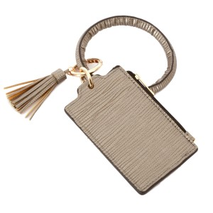 """Textured PU Leather Slim Minimalist Tassel Coin Pouch Key Ring Bangle Wristlet.  - Zipper Closure - Coin Pouch - 2 functional pockets - Approximately 4"""" T x 3"""" W - Ring 4"""" in diameter - 100% PU"""