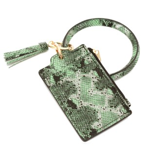 """PU Leather Snakeskin Slim Minimalist Coin Tassel Pouch Key Ring Bangle Wristlet.  - Zipper Closure - Coin Pouch - 2 functional pockets - Approximately 4"""" T x 3"""" W  - Ring 4"""" in diameter - 100% PU"""