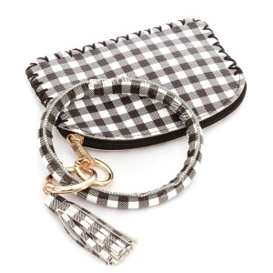 """PU Leather Checkered Tassel Coin Pouch Key Ring Bangle Wristlet.  - Zipper Closure - No Pockets - Open Pouch - Approximately 5"""" T x 3.5"""" W  - Ring 4"""" in diameter - 100% PU"""