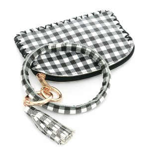 """Faux Leather Checkered Coin & Card Wallet Tassel Key Ring.  - Zipper Closure - No Pockets - Open Pouch - Approximately 5"""" T x 3.5"""" W  - Ring 4"""" in diameter - 100% PU"""