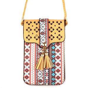 "Faux leather aztec print cell phone cross body with tassel detail.  - One inside pocket  - Clear back window - Flap button closure - Strap length approximately 24""  - 100% PU"