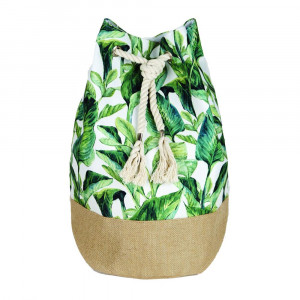 "Tropical palm leaf tote bag with rope drawstring.  - Approximately 18.25"" x 18.25"" x 11"" in size"