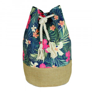 "Tropical floral tote bag with rope drawstring.  - Approximately 18.25"" x 18.25"" x 11"" in size"