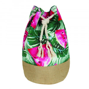 "Tropical watermelon tote bag with rope drawstring.  - Approximately 18.25"" x 18.25"" x 11"" in size"