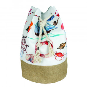 "Nautical tote bag with rope drawstring.  - Approximately 18.25"" x 18.25"" x 11"" in size"