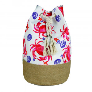 "Crab tote bag with rope drawstring.  - Approximately 18.25"" x 18.25"" x 11"" in size"
