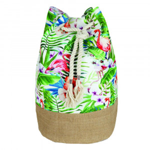 "Tropical flamingo tote bag with rope drawstring.  - Approximately 18.25"" x 18.25"" x 11"" in size"