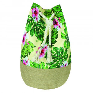 "Tropical hibiscus tote bag with rope drawstring.  - Approximately 18.25"" x 18.25"" x 11"" in size"