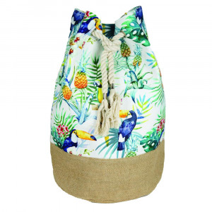 "Tropical toucan tote bag with rope drawstring.  - Approximately 18.25"" x 18.25"" x 11"" in size"