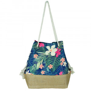 "Tropical floral tote bag with rope handles.  - Approximately 20.5"" x 15.5"" x 7"""