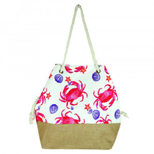 "Crab tote bag with rope handles.  - Approximately 20.5"" x 15.5"" x 7"""