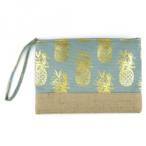 "Pineapple glitter pouch. 10""X7"" 60% COTTON, 40% POLYESTER"