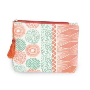 "Geometric travel pouch with tassel accent.  - Open inside - Zipper closure - Approximately 8"" W x 6"" T - 100% Cotton"