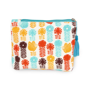 """Multicolor flower travel pouch with tassel accent.  - Open inside - Zipper closure - Approximately 8"""" W x 6"""" T - 100% Cotton"""
