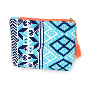 """Geometric travel pouch with tassel accent.  - Open inside - Zipper closure - Approximately 8"""" W x 6"""" T - 100% Cotton"""