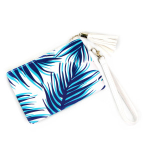 """Blue Tropical Print Wristlet Tassel Pouch.  - Zipper Closure - Detachable Wristlet - Interior Material: Polyester - Outside Material: PU - Approximately 7"""" W x 5"""" T"""