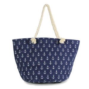 "Anchor canvas beach tote bag with rope handles.  - Open lined inside with pockets - Zipper closure - Rope handles - Approximately 21"" W x 13"" T - Handles 11"" L - 35% Cotton, 65% Polyester"