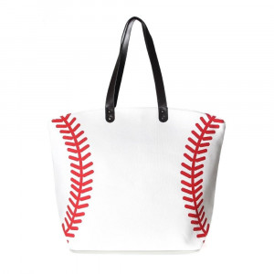 """Baseball Tote Bag.   - Perfect for Game Day & Monogramming! - Snap Button Closure - Open Lined Inside - 1 Open Inside Pocket - 10"""" Faux Leather Handles - Approximately 21"""" W x 16"""" T - 80% Cotton, 20% Polyester"""