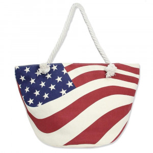 "Canvas tote bag with an American flag pattern, top zipper closure, rope handles and a lining inside with pockets. 35% cotton and 65% polyester. Measures approximately 21"" x 13"" in size."